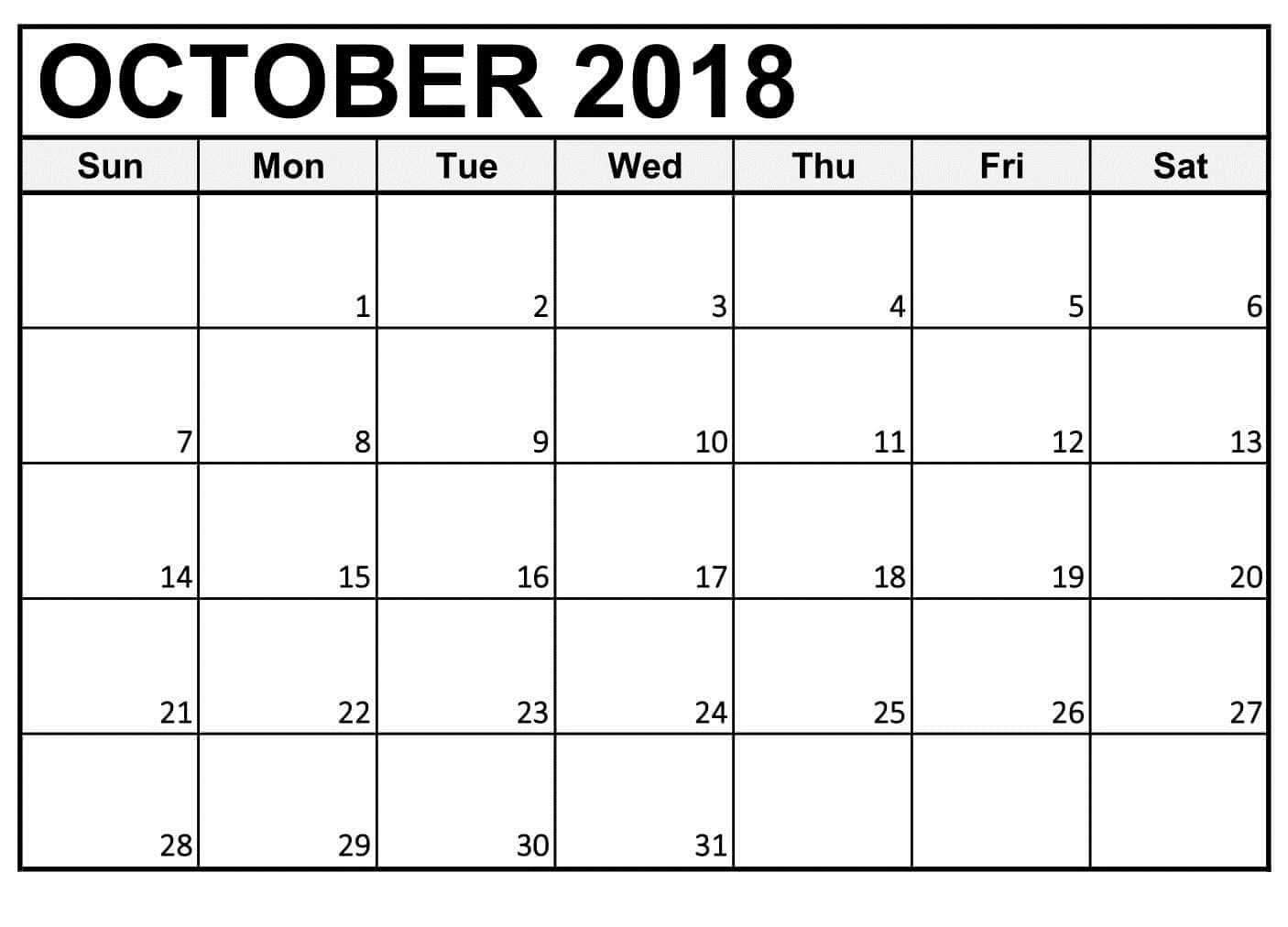 October Printable Calendar For 2018