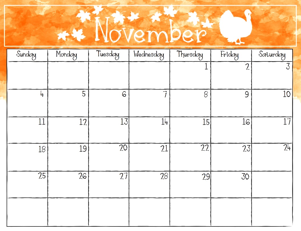 Printable Calendar November 2018 Watercolor