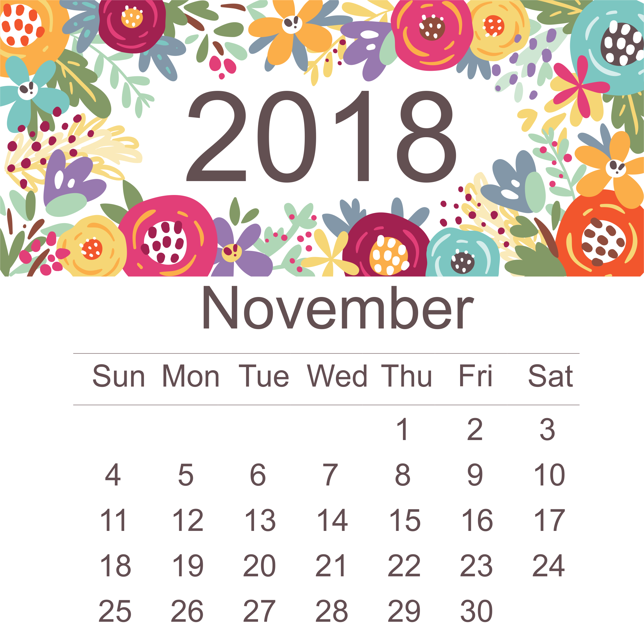 Printable Calendar November 2018 for Desktop