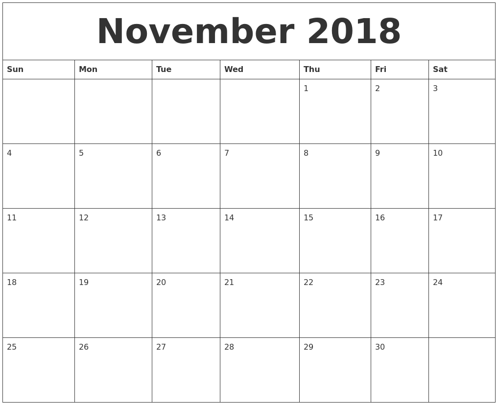 Printable Calendar for November 2018 Daily Planner