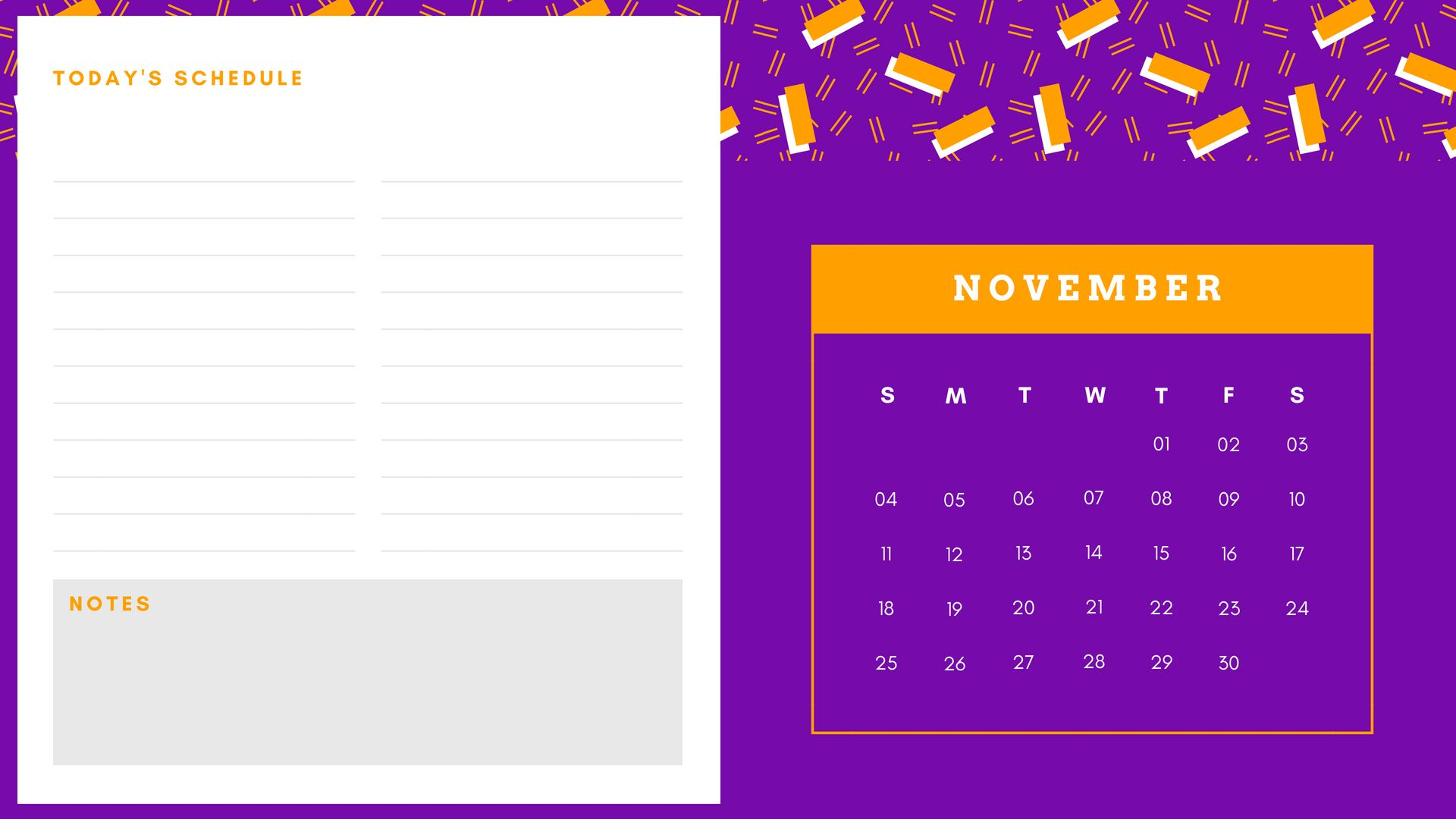 Simple November 2018 Calendar Wallpaper