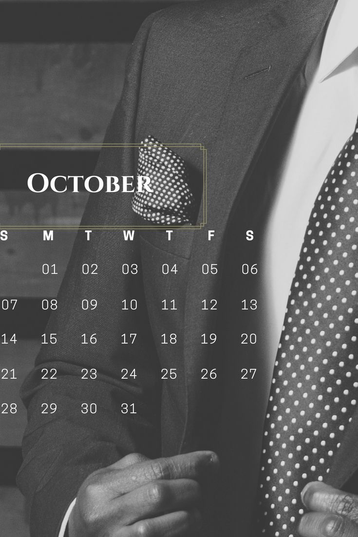 Stylish October 2018 iPhone Calendar