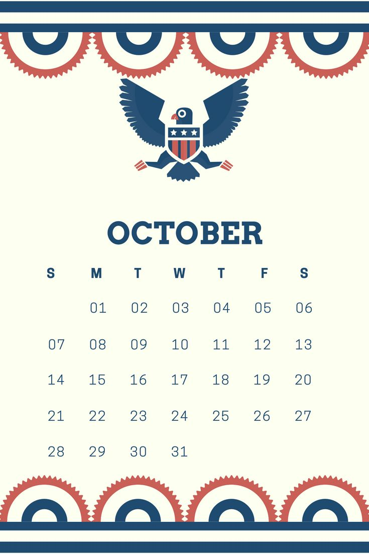 Unique October 2018 iPhone Wallpaper Calendar