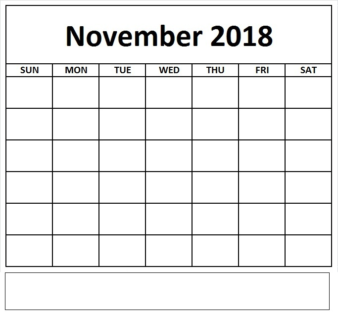 Blank November 2018 Calendar Checklist