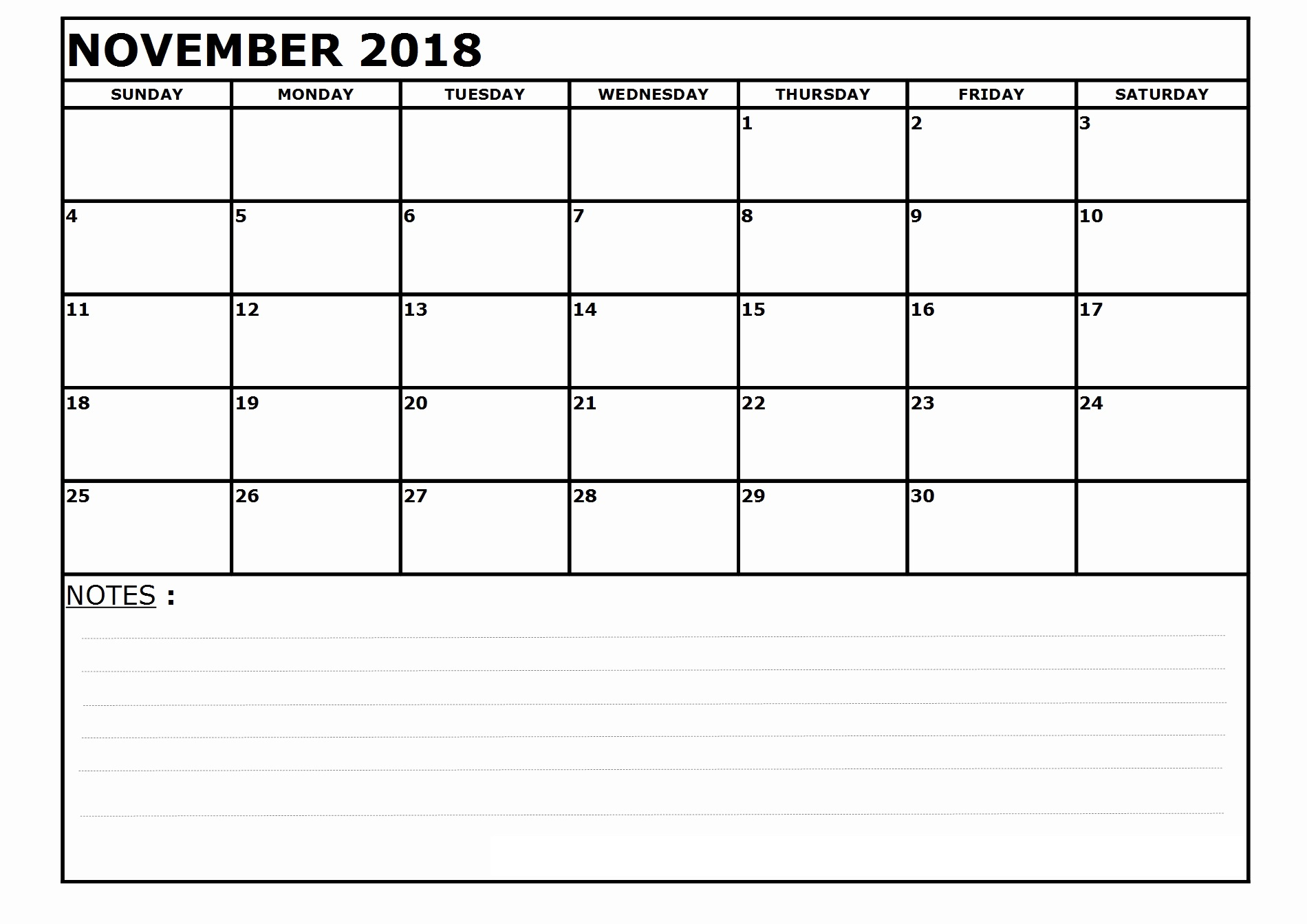 Blank November 2018 Calendar Free Printable Download