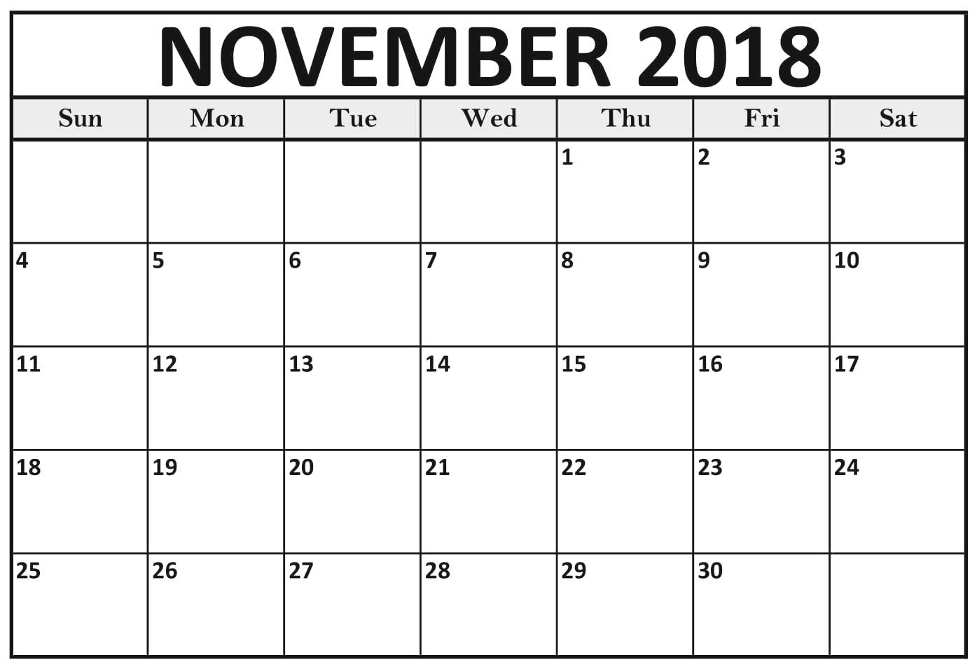 Blank November 2018 Calendar Worksheet