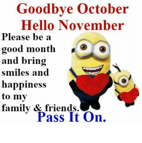 Goodbye October Hello November Facebook