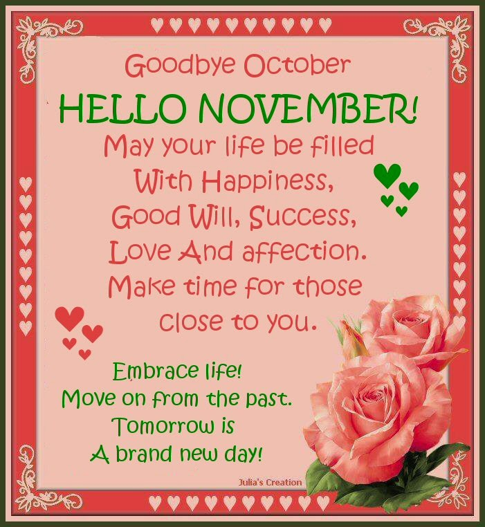 Goodbye October Hello November Quotes and Sayings