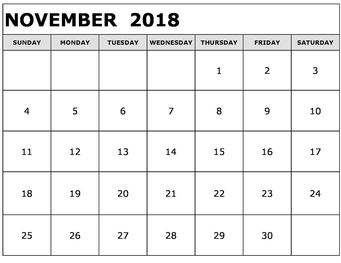 Monthly November 2018 Calendar Printable