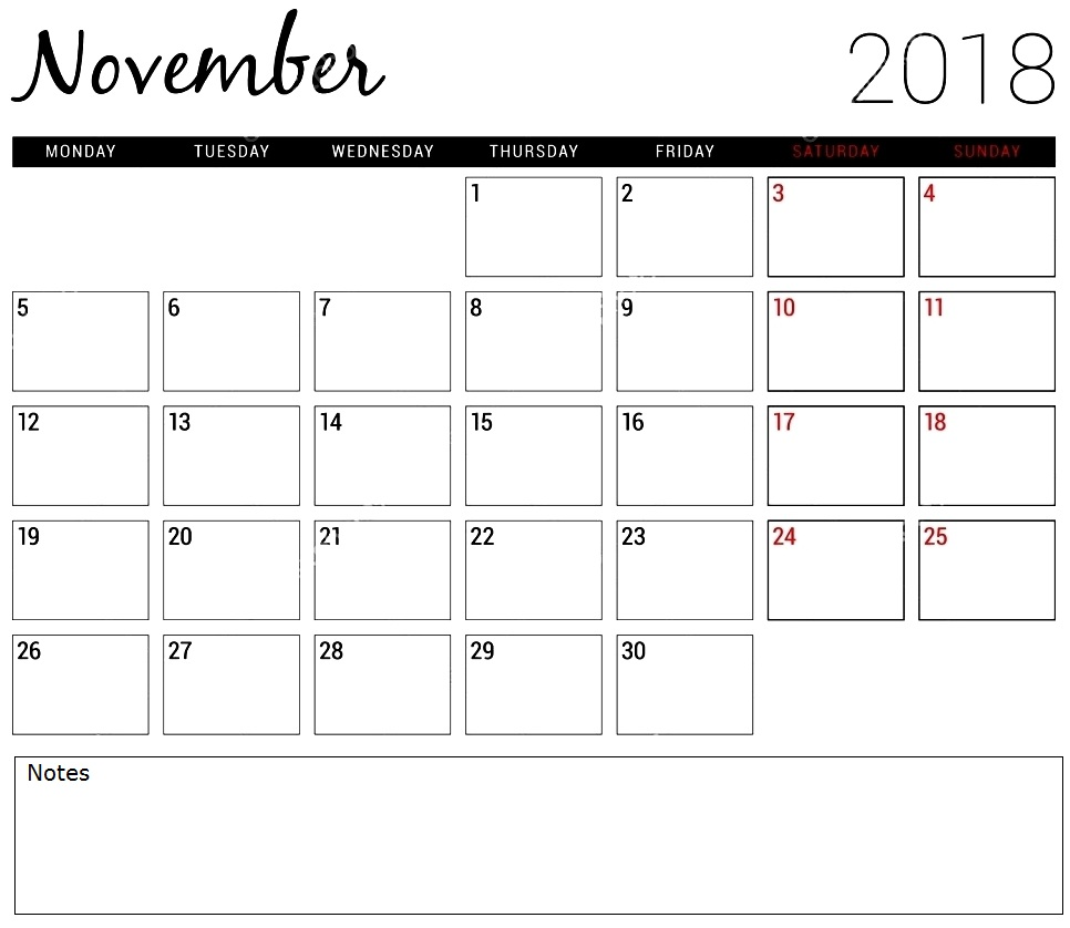November 2018 Calendar Printable Worksheet