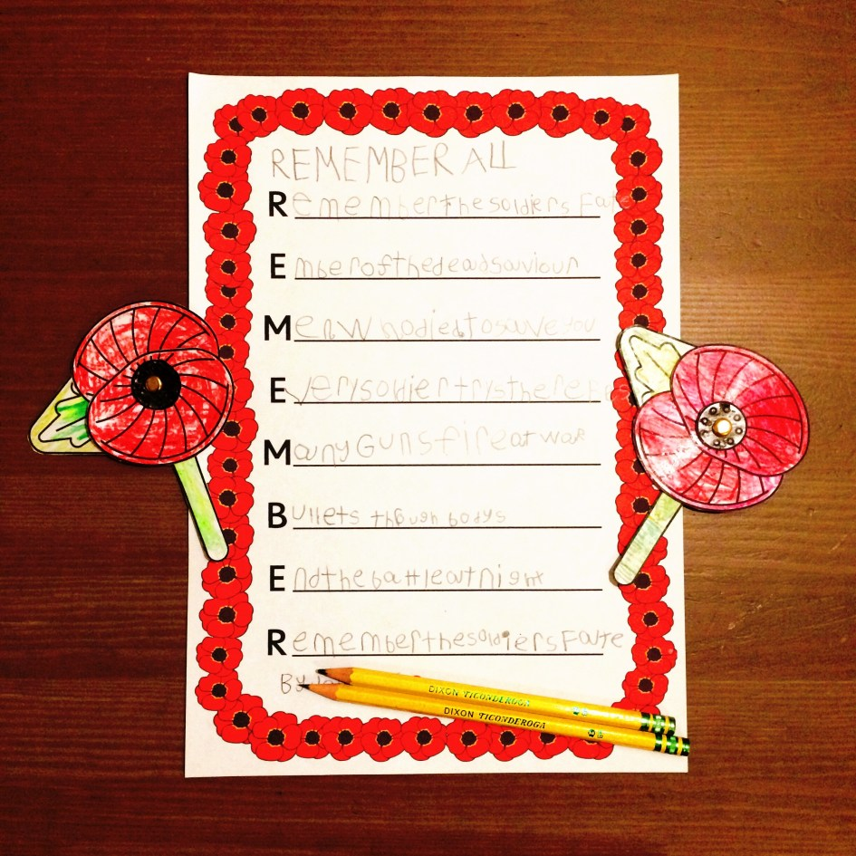 Remembrance Day Poem Flanders Field Activity