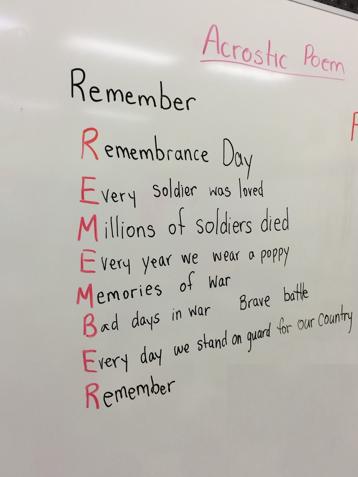 Remembrance Day Poem With Meaning For Kindergarten