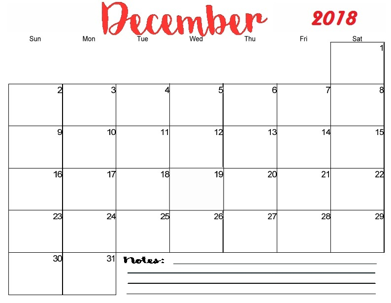 picture about Printable Monthly Calendar December identify Blank December 2018 Calendar Printable Every month Template