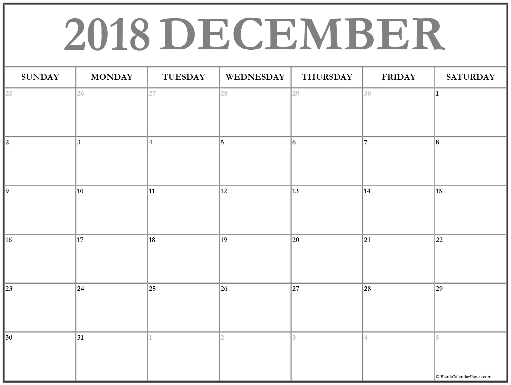 photograph about Printable Monthly Calendar Dec identified as Blank December 2018 Calendar Printable Regular Template