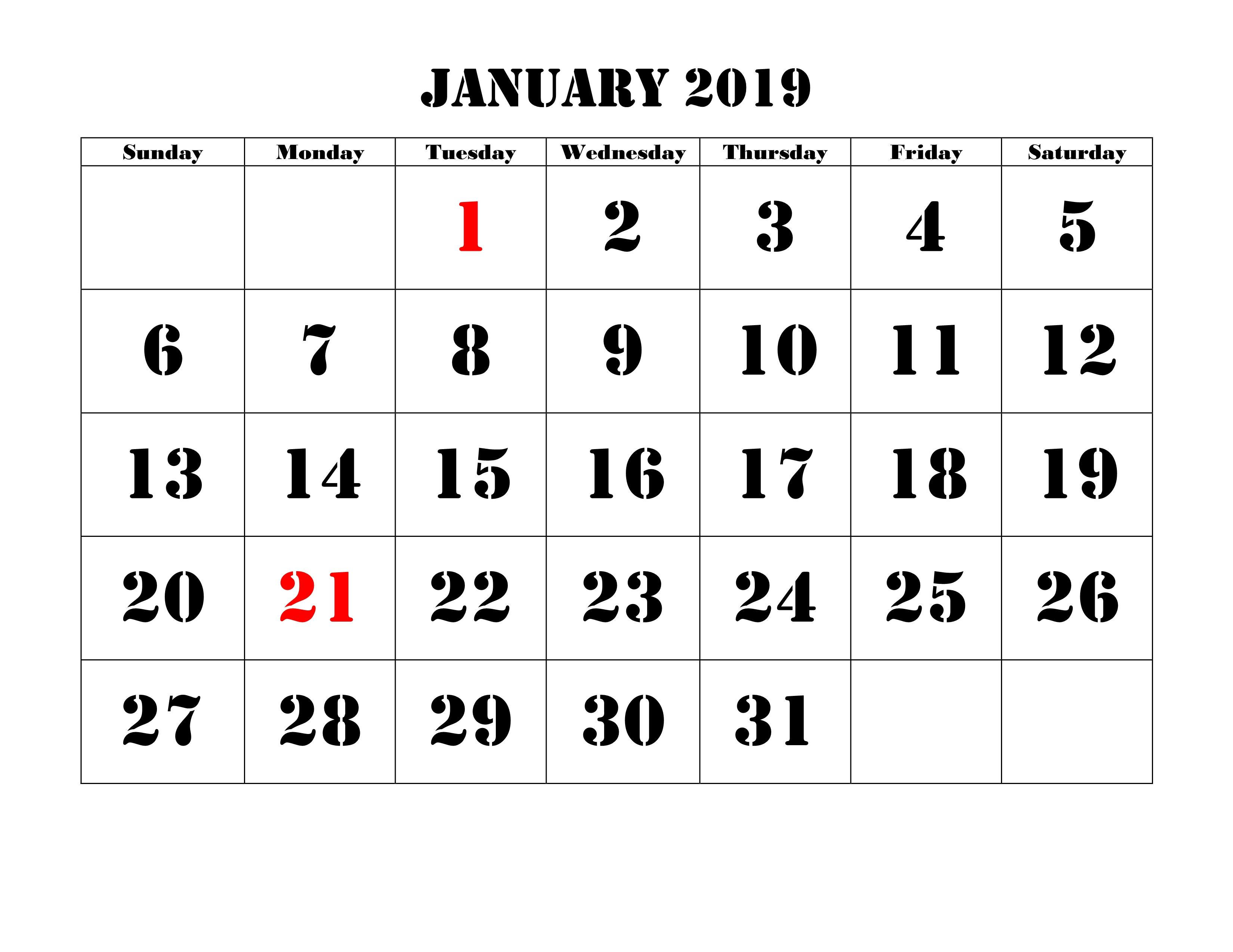 Blank January 2019 Calendar Printable Design Planner
