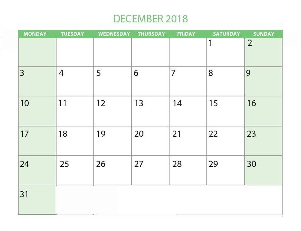 Calendar For December 2018 Weekly Template