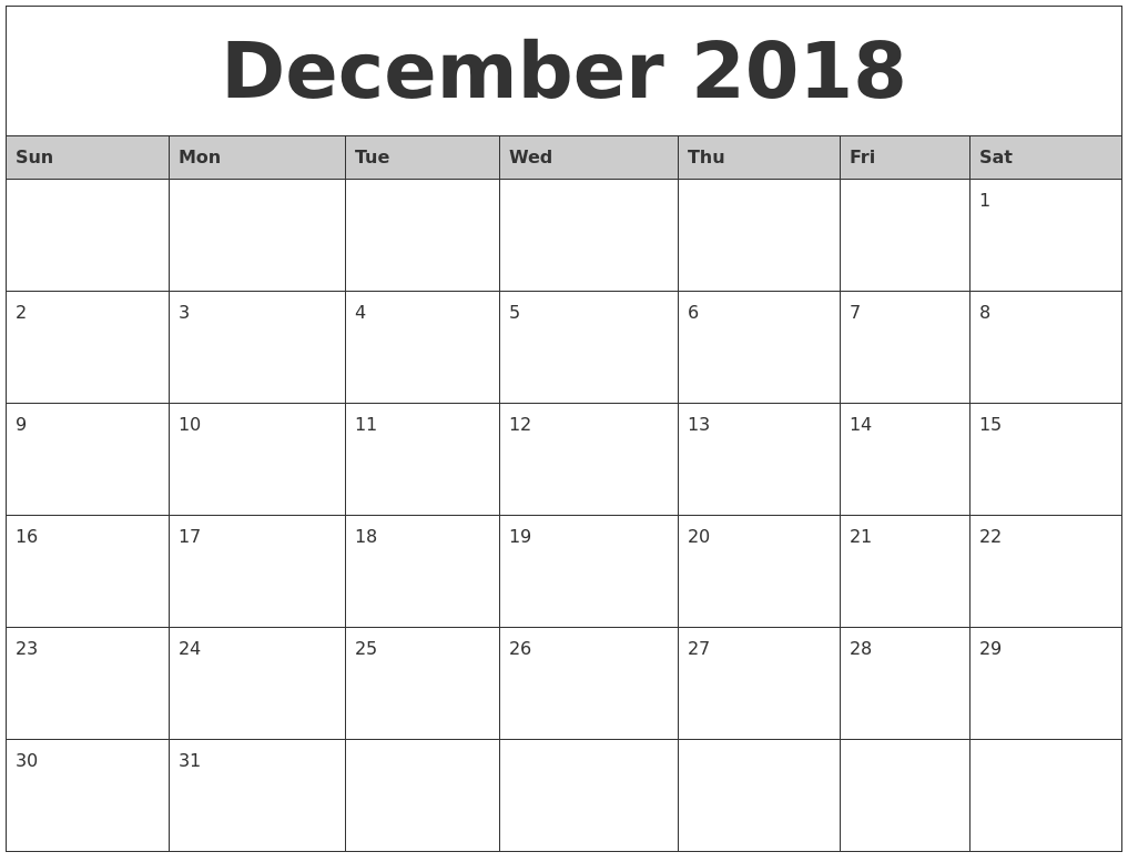 picture relating to Printable Calendar December Pdf referred to as December 2018 Calendar Printable Pdf Cost-free Template