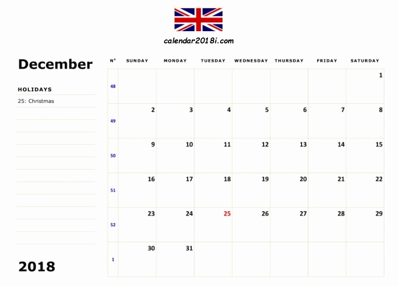 December 2018 Calendar With Holidays UK
