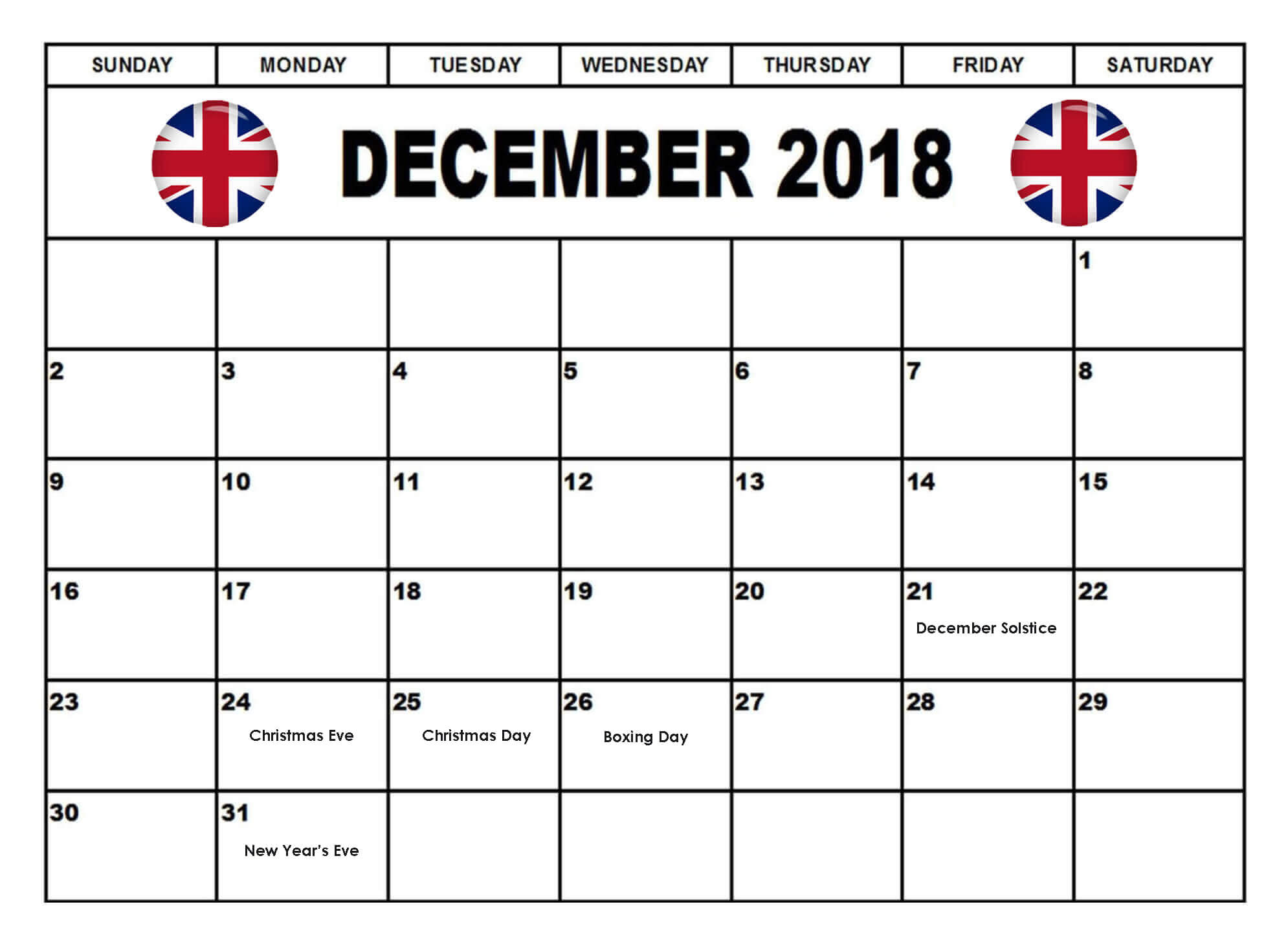 December 2018 Calendar UK Public Holidays