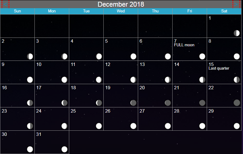 Download Moon Calendar December 2018