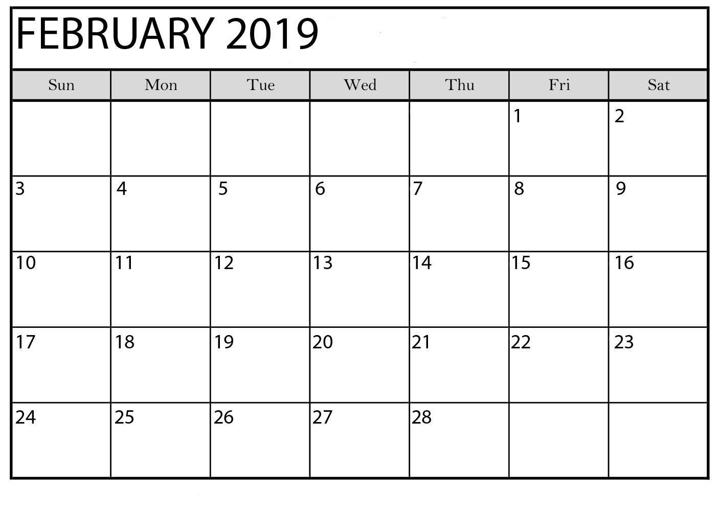 February 2019 Blank Calendar Excel With Notes