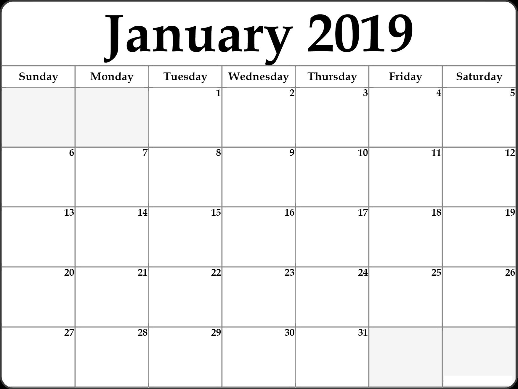 Free Download January 2019 Calendar Monthly