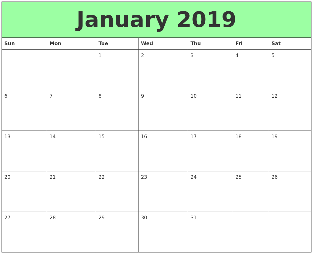 Free Download January 2019 Calendar Printable