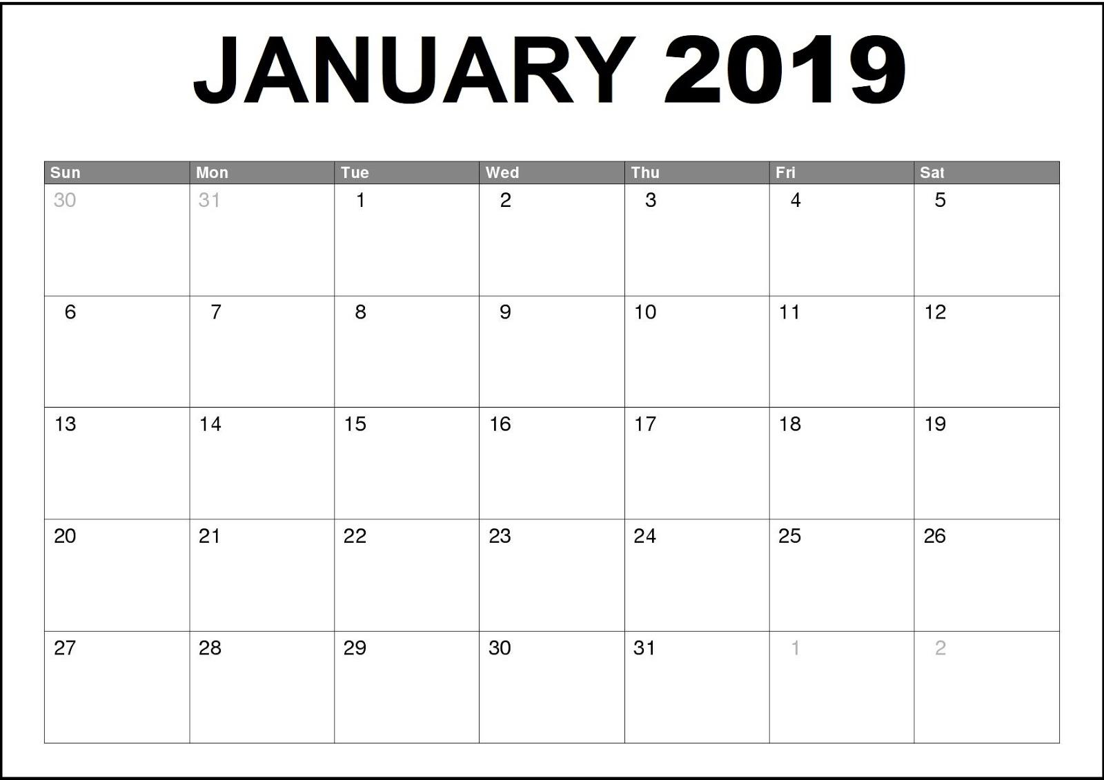Free January 2019 Calendar Schedule Download