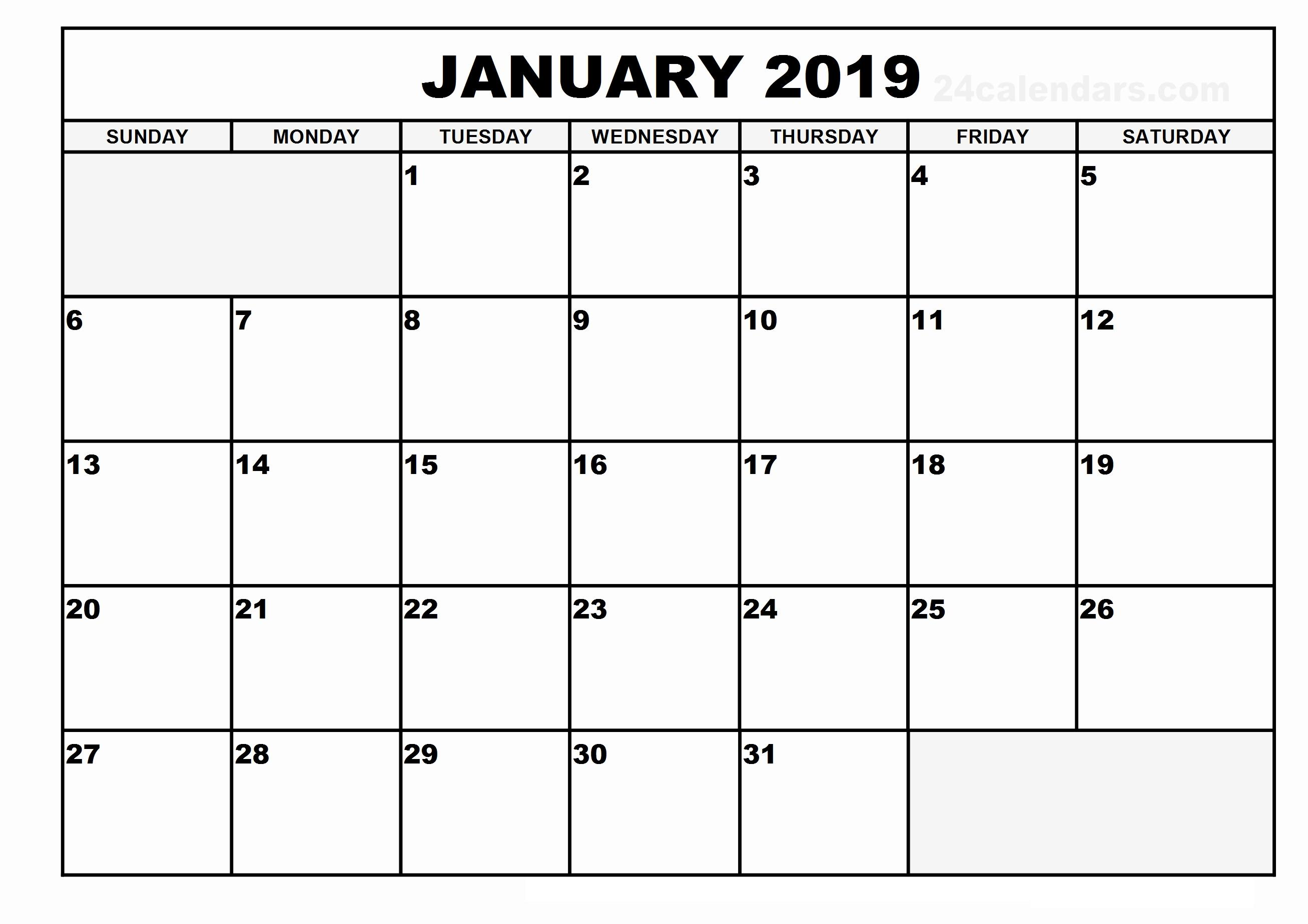 January 2019 Blank Calendar For Office Pages
