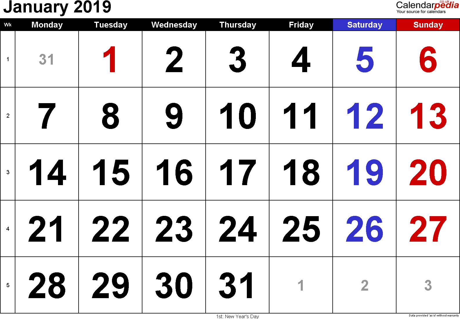 January 2019 Blank Calendar Printable Images