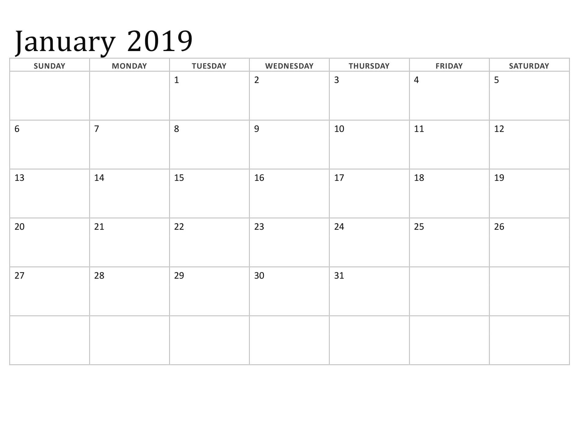 January 2019 Blank Calendar Printable Template