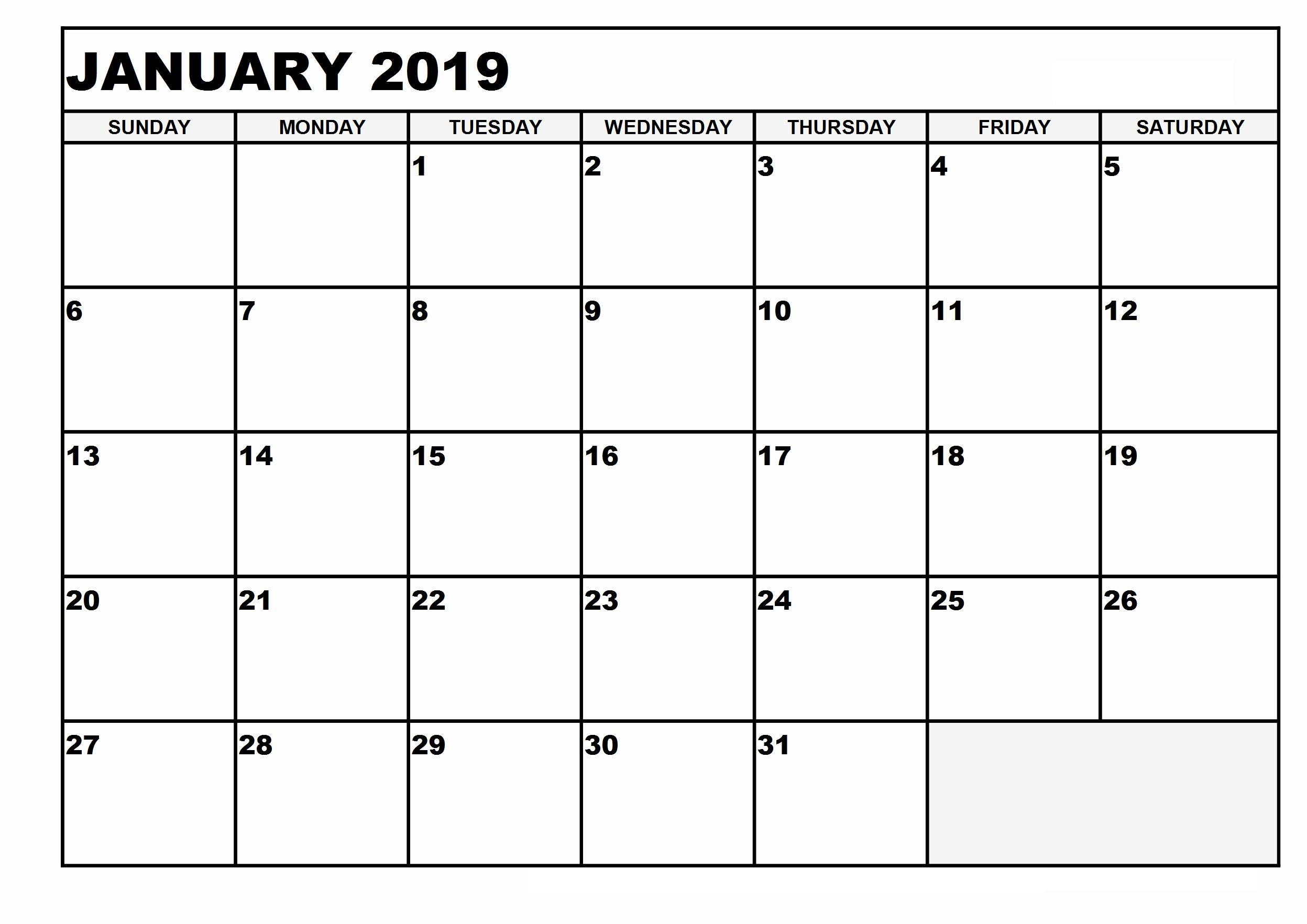 January 2019 Blank Calendar Template Pages