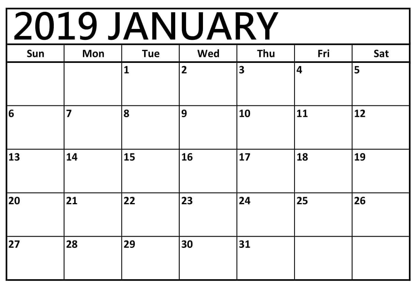 January 2019 Calendar Customized Template