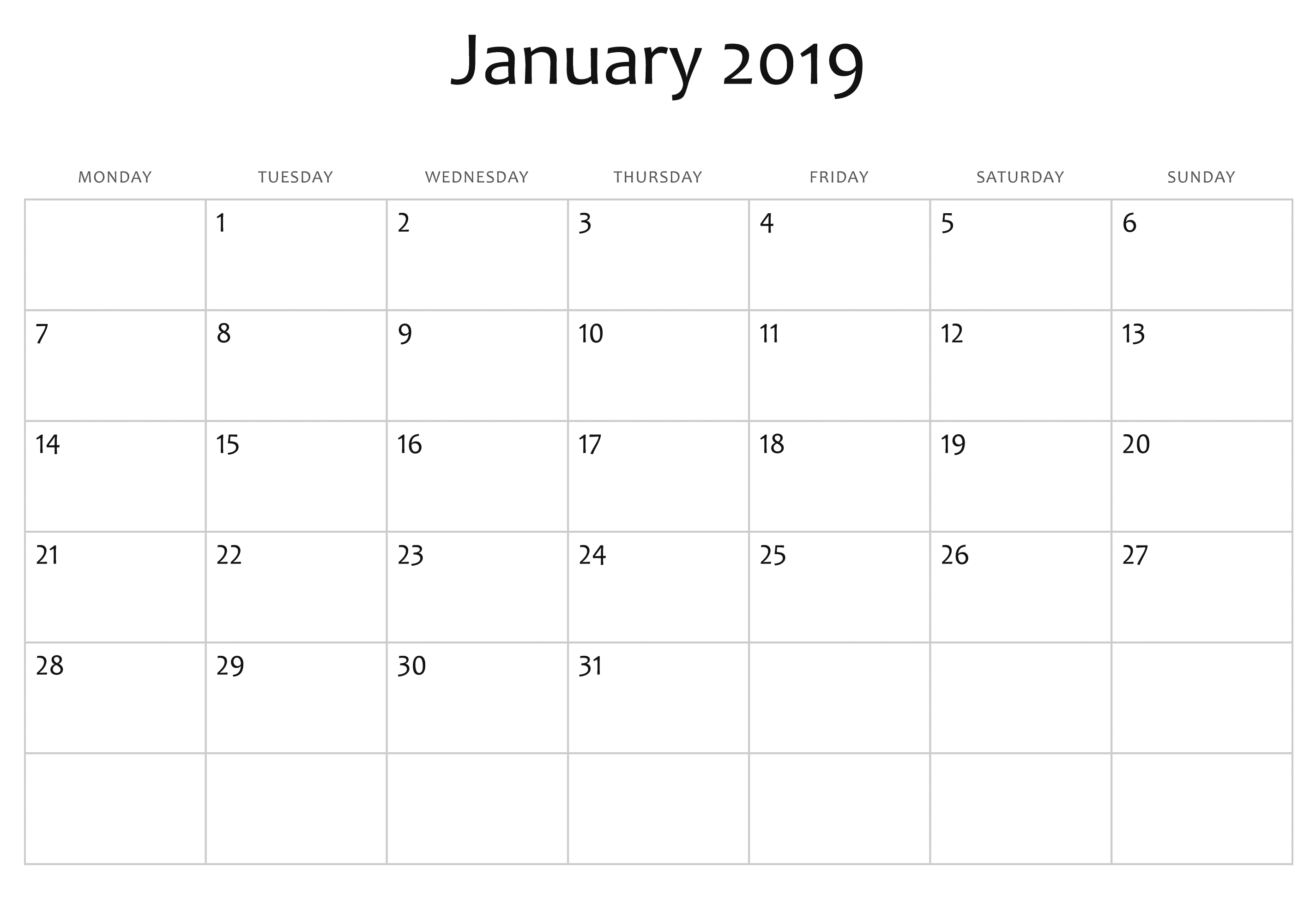January 2019 Calendar Design By Month