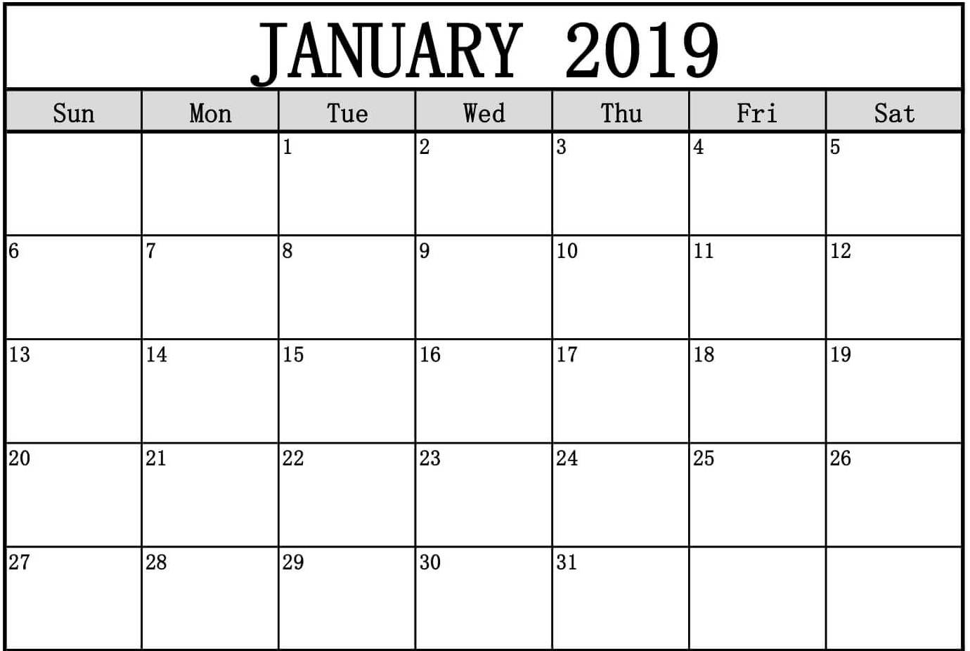 January 2019 Calendar Excel With Notes