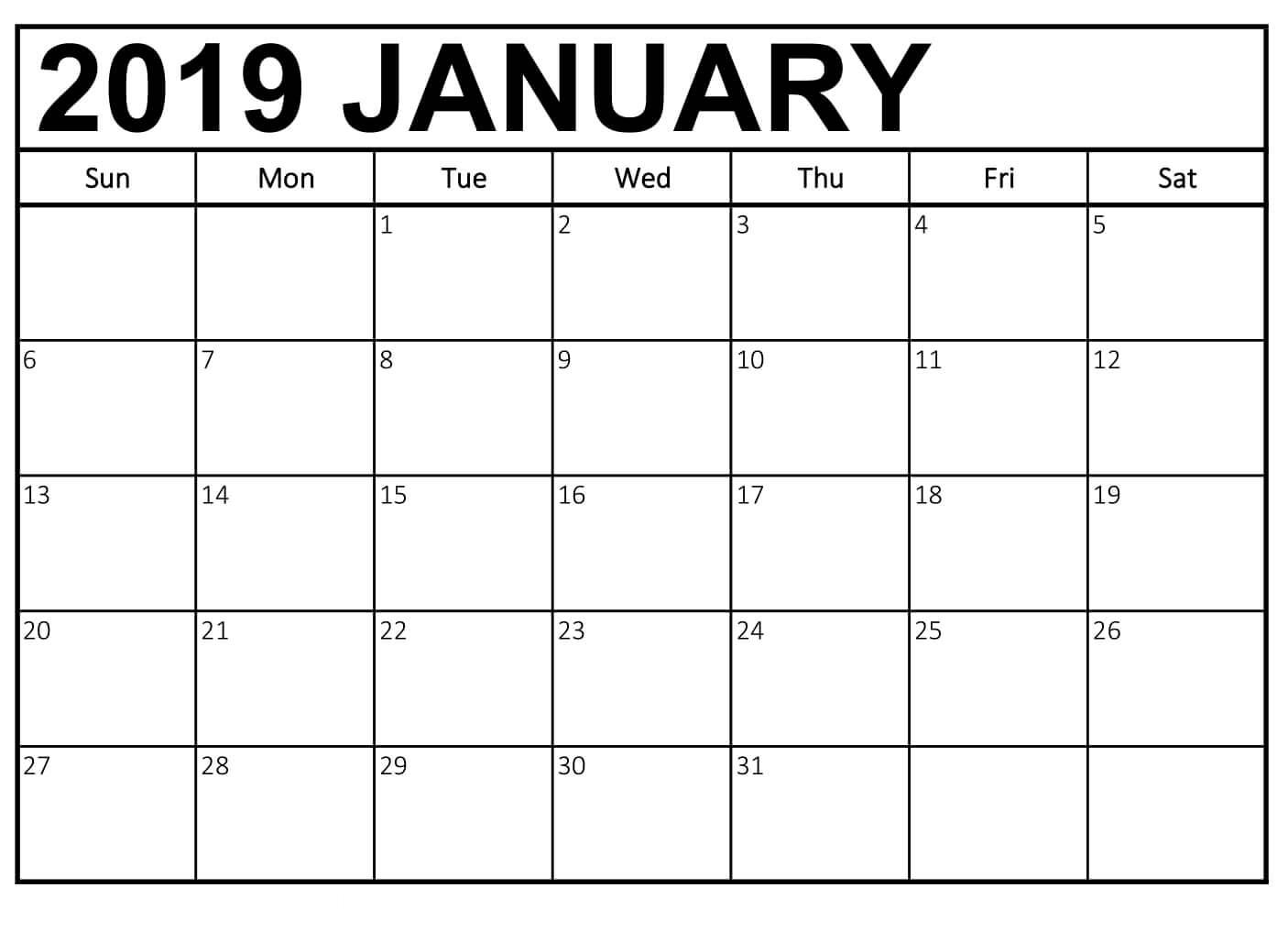 January 2019 Calendar Printable Business Template