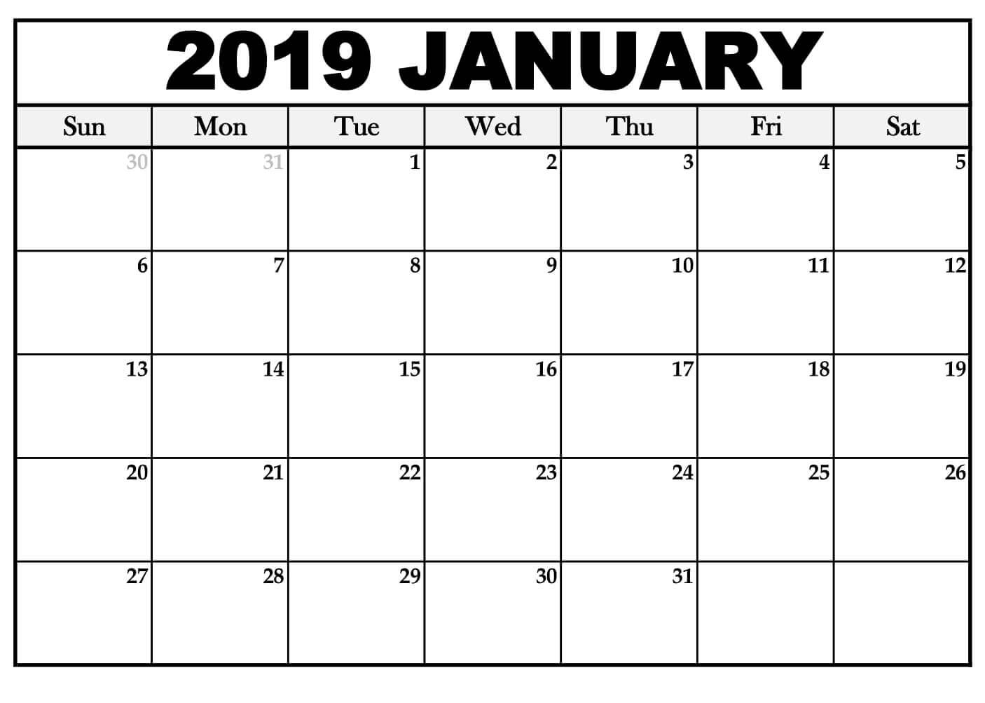 January 2019 Calendar Printable For Office photos