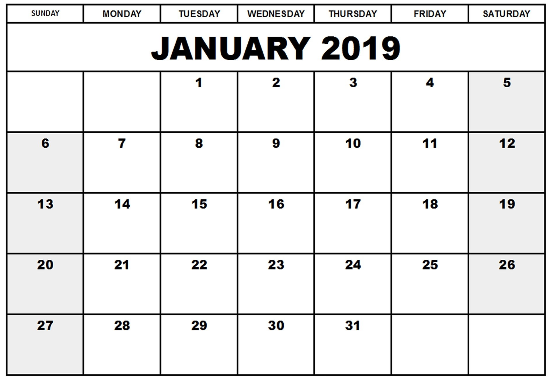 January 2019 Calendar Printable Daily