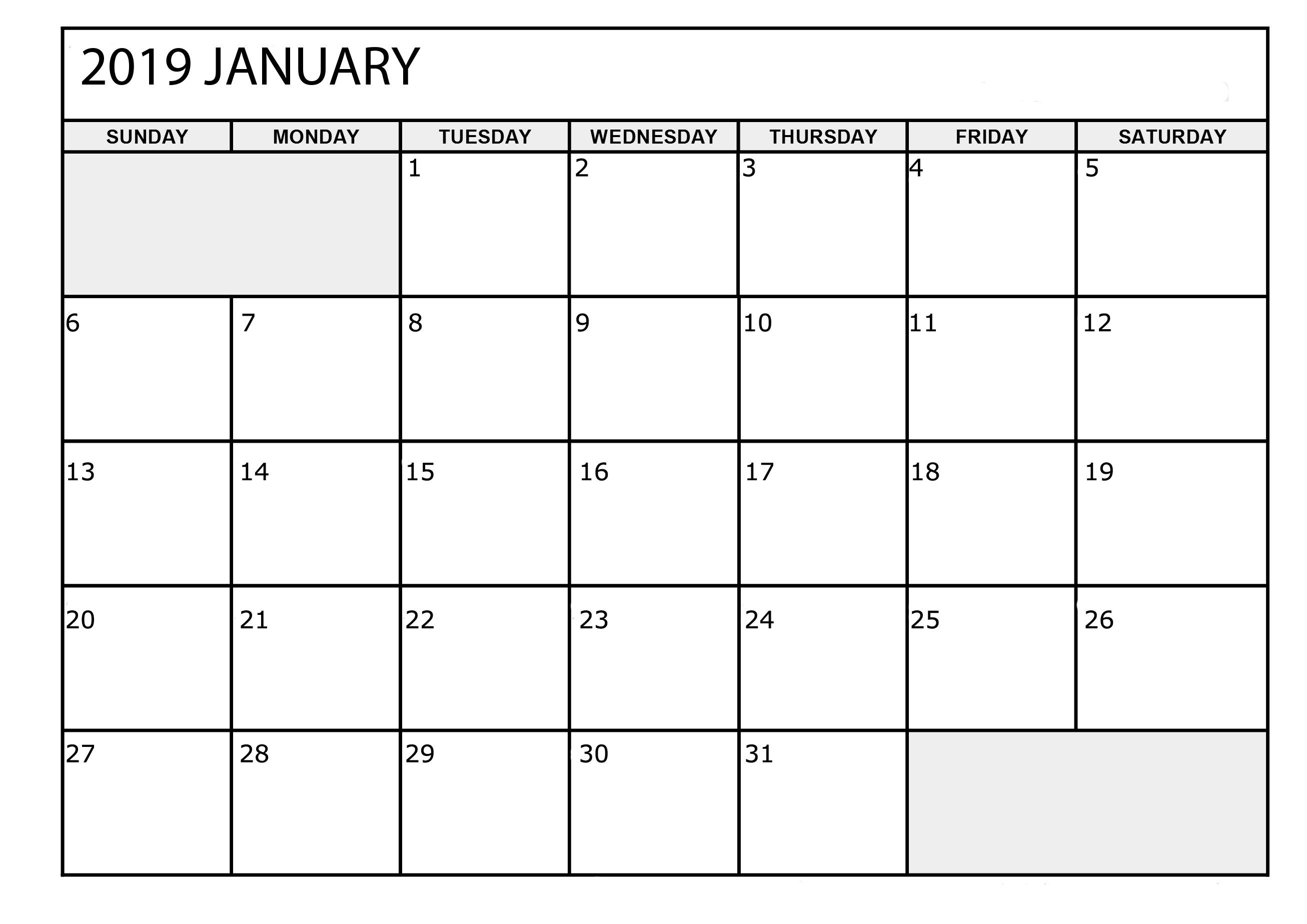 January 2019 Calendar Template Images Download