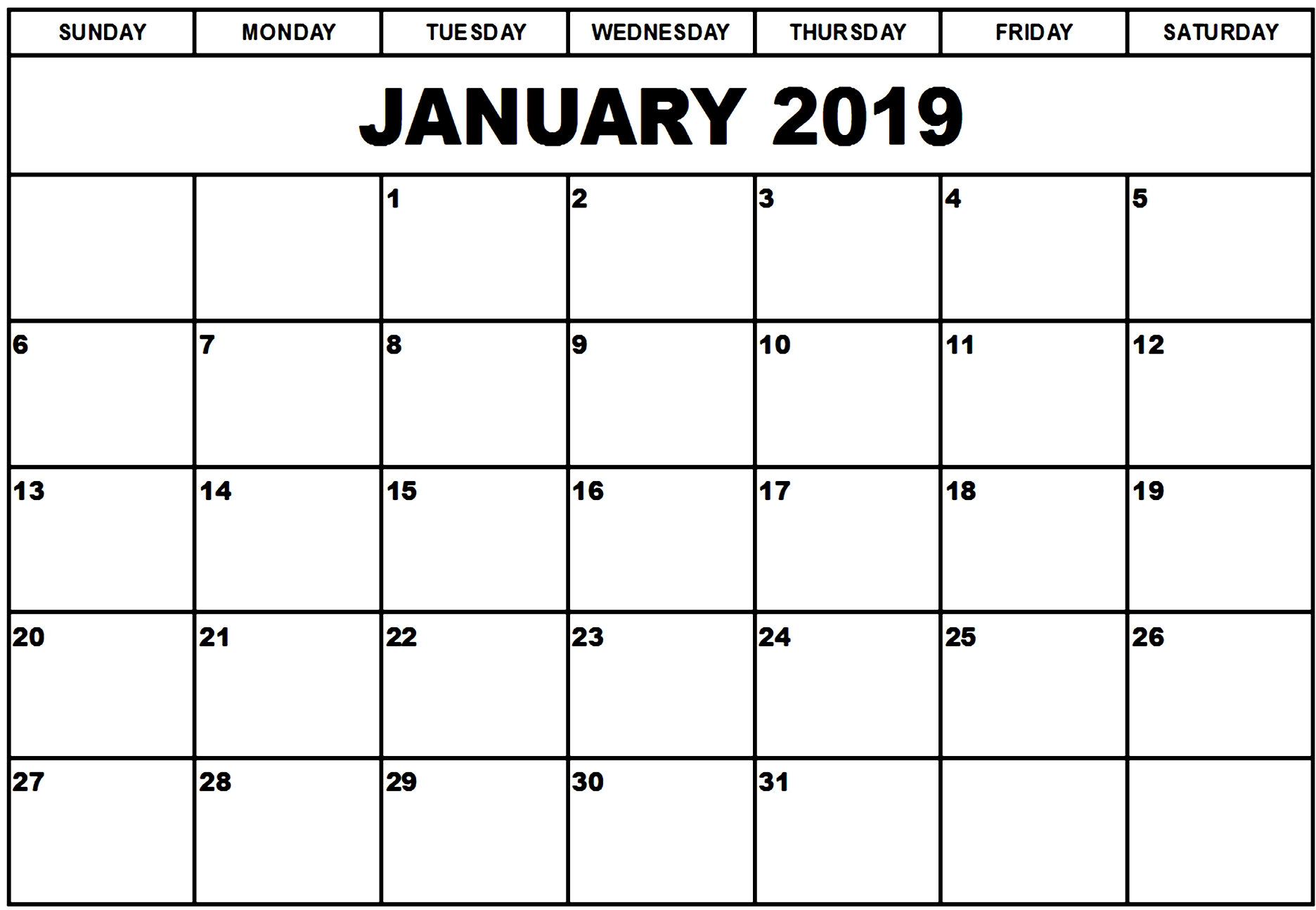 January 2019 Calendar Template Manage Work Monthly