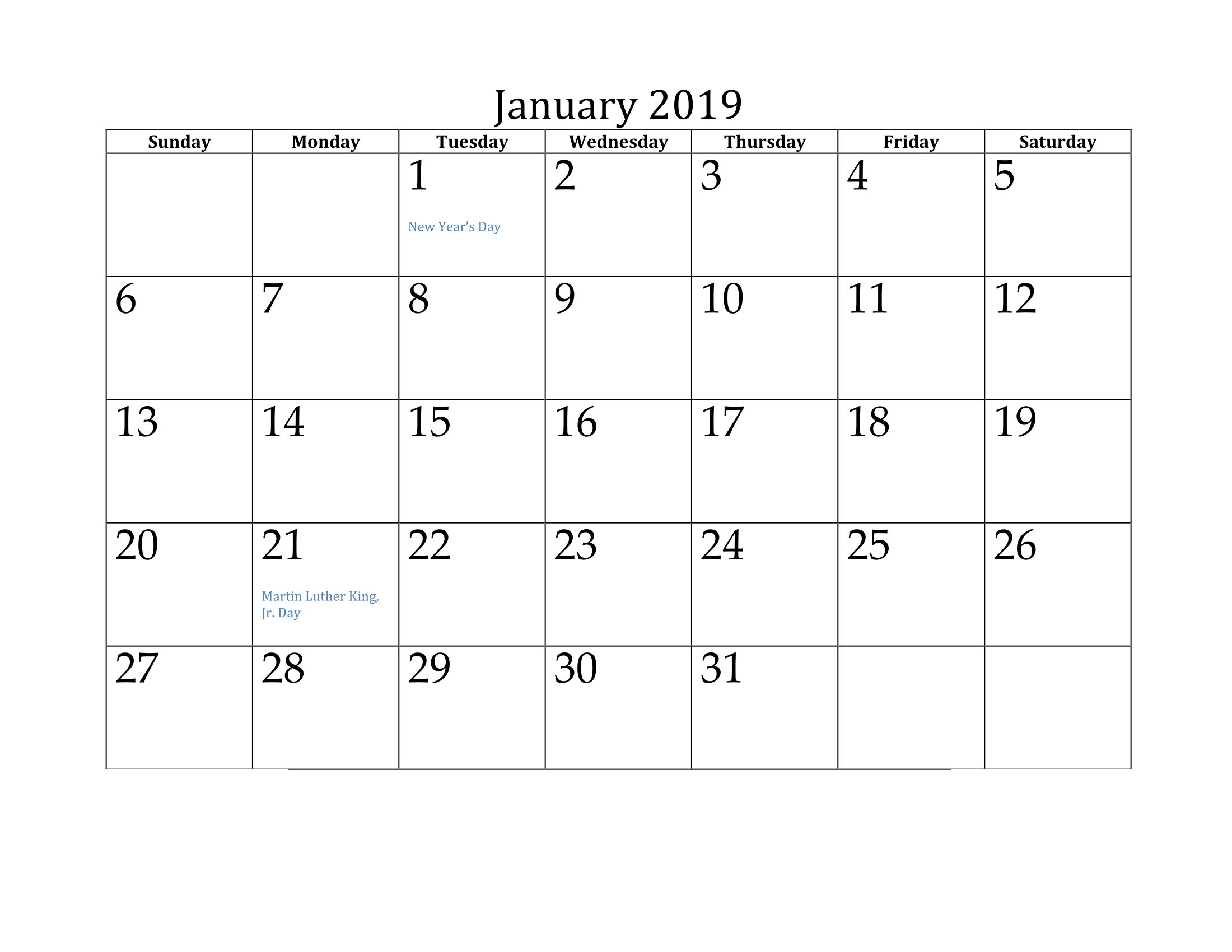 January 2019 Calendar With Bank Holidays