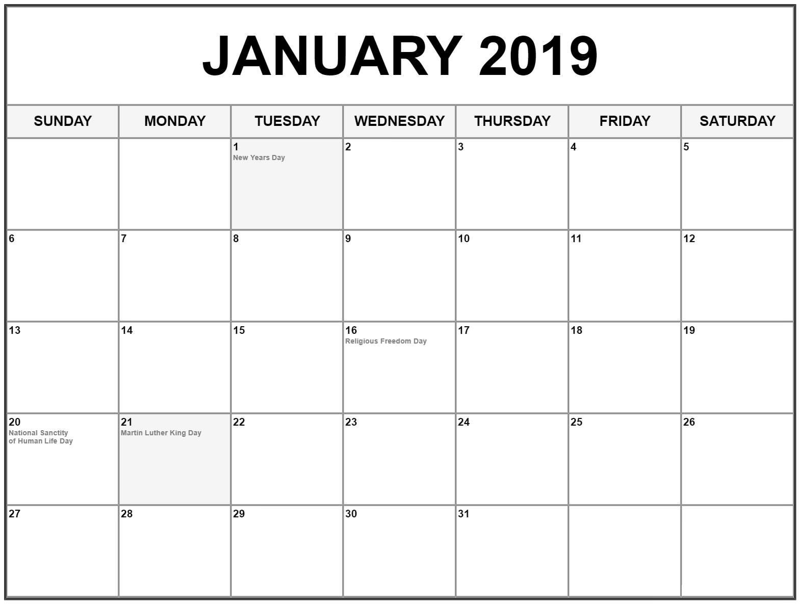 January 2019 Calendar With Holidays Editable Monthly