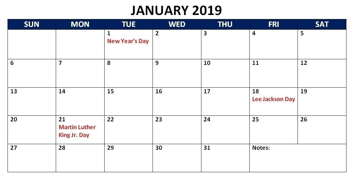 January 2019 Calendar With Holidays Format Printout