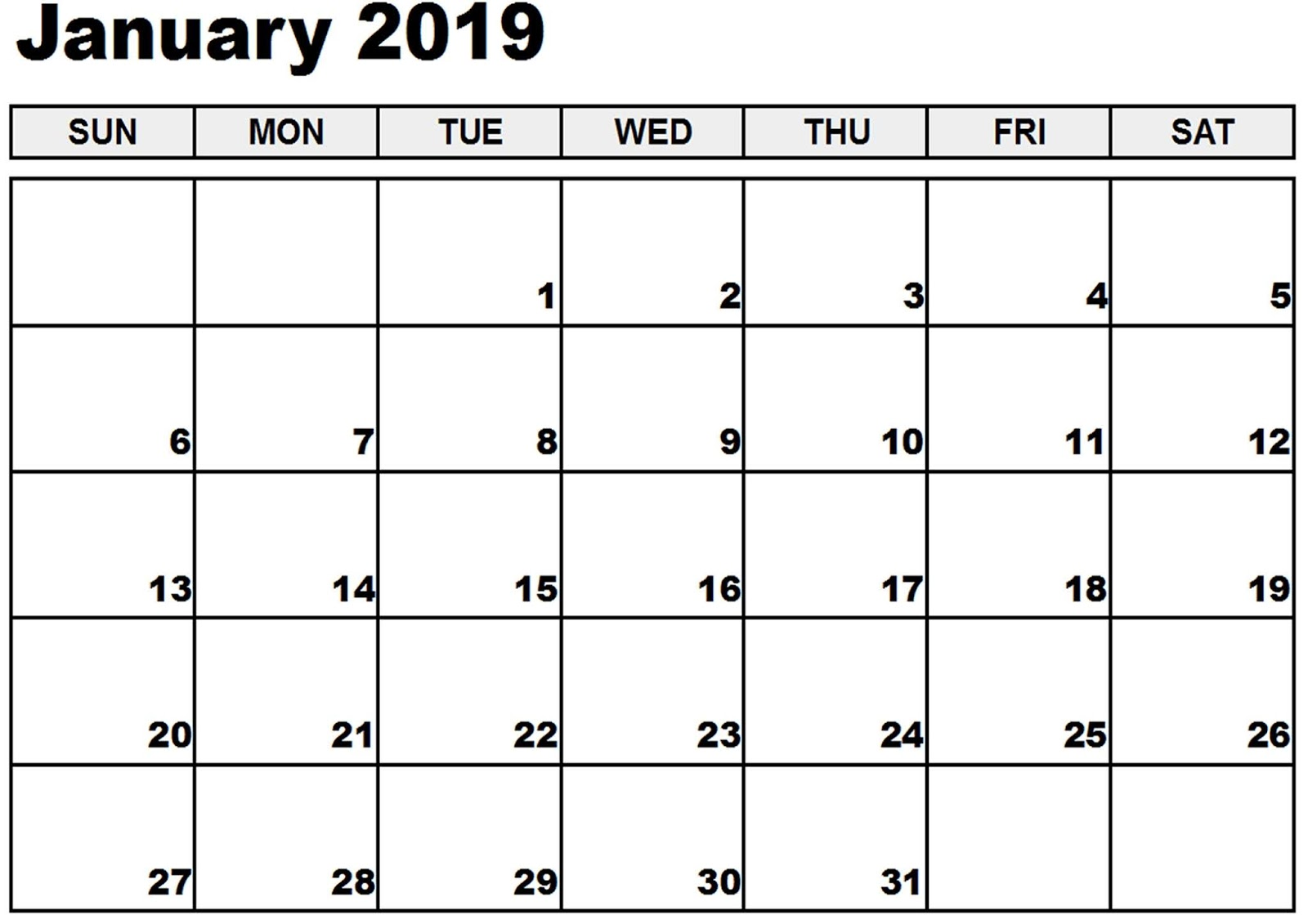 January 2019 Calendar With Holidays Online