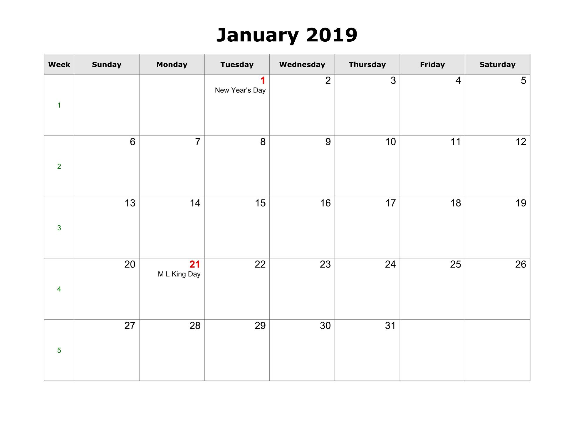 January 2019 Calendar With Holidays Printable Templates