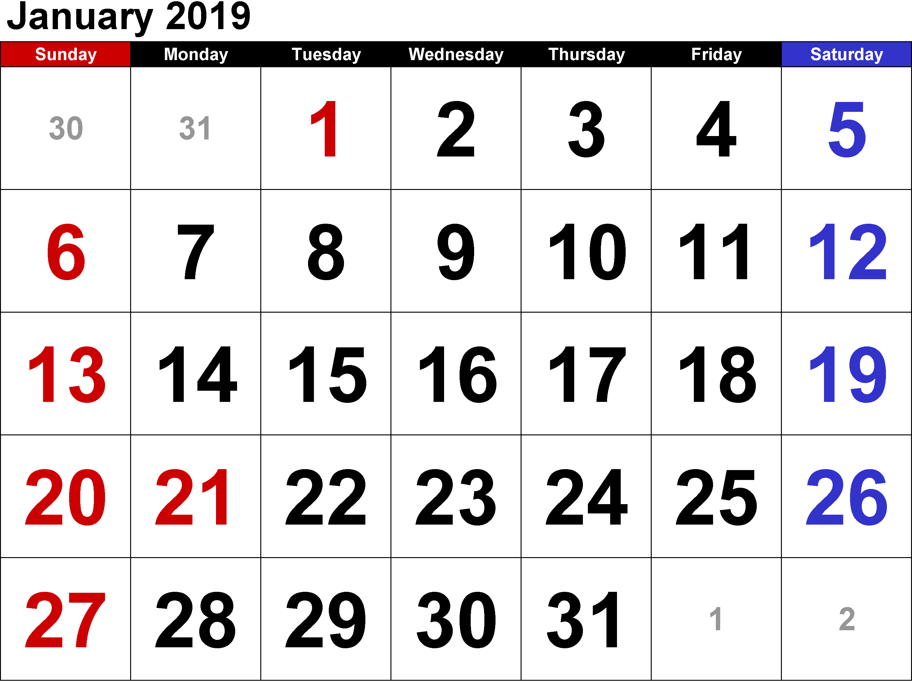 January 2019 Calendar With Holidays USA UK