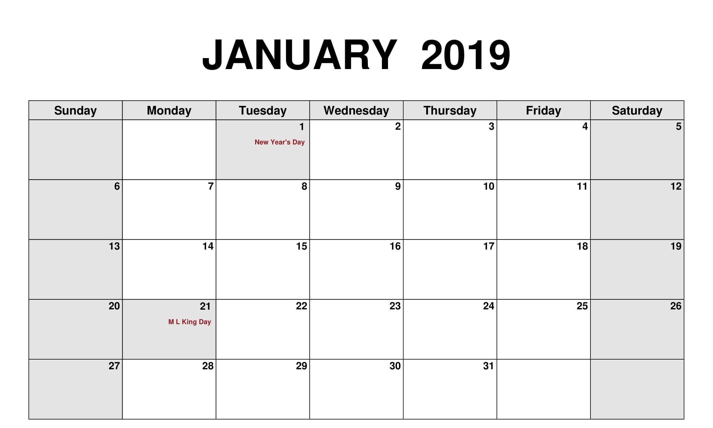 January 2019 Calendar With National Holidays