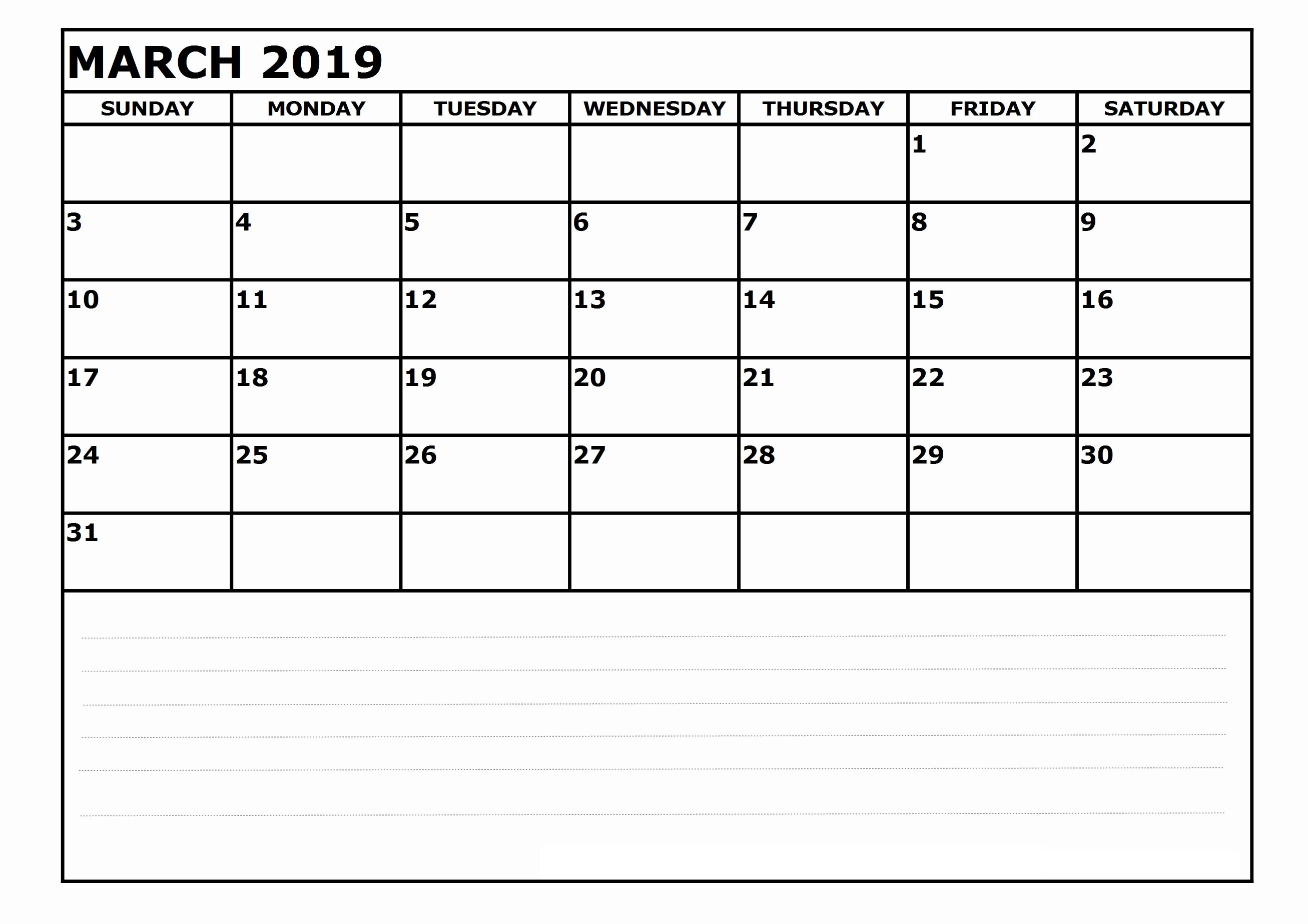 march 2019 calendar printable pdf free download