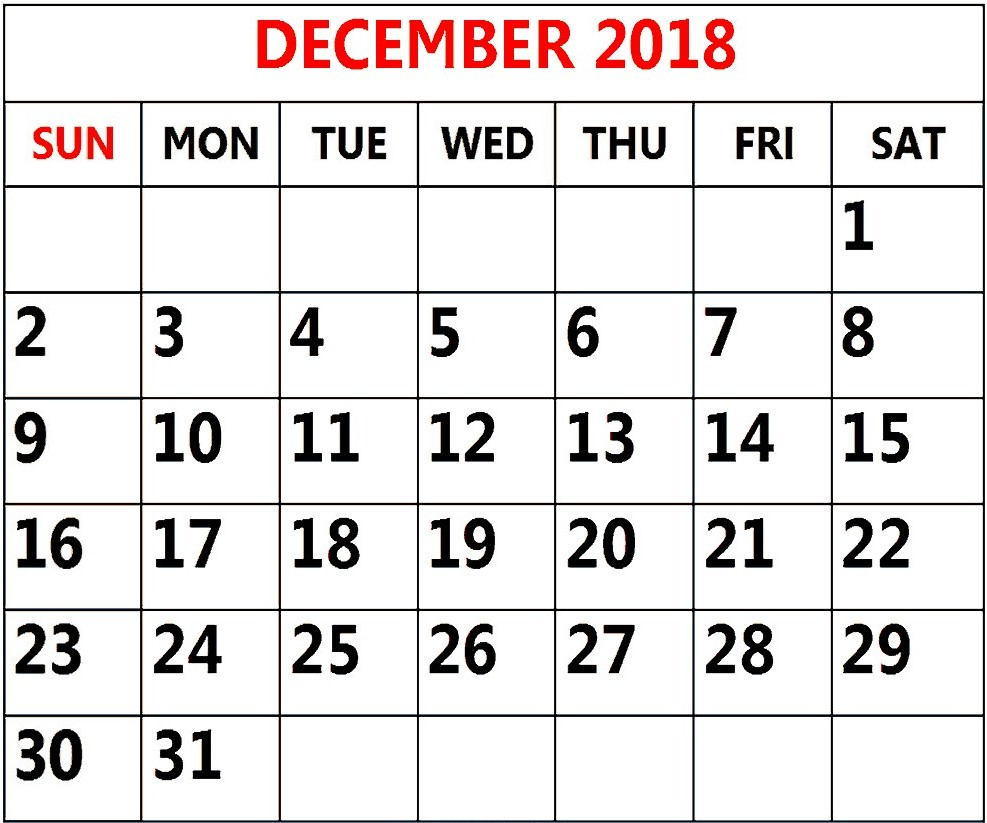 Monthly Calendar Template December 2018