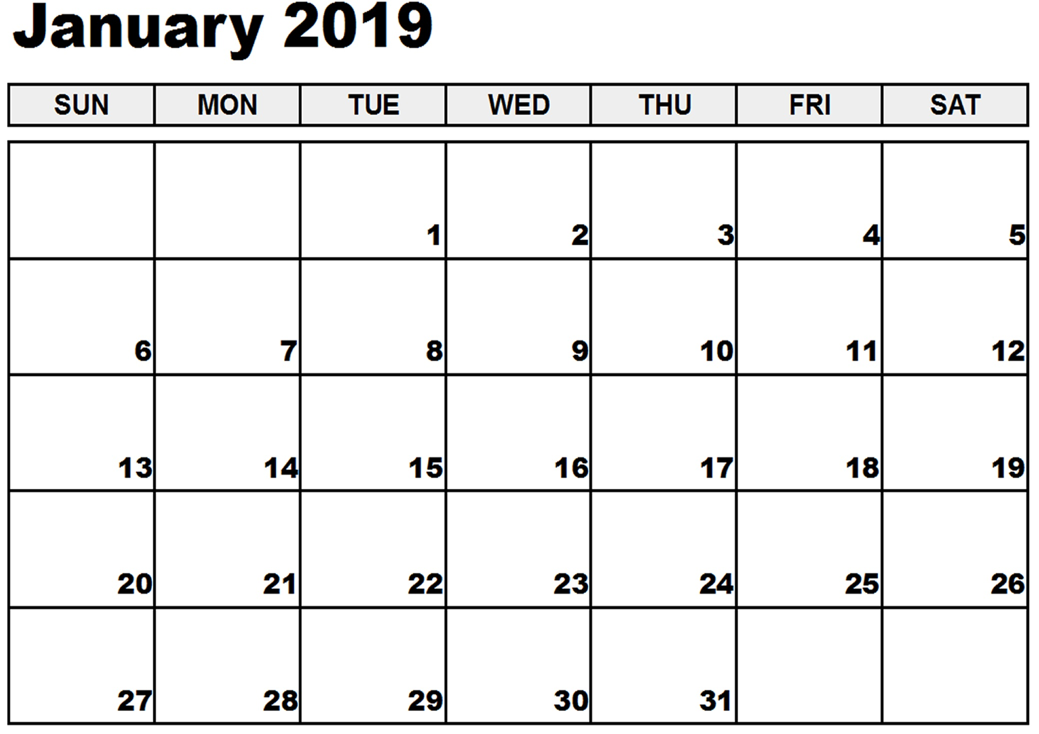 Printable January 2019 Calendar Excel Monthly Images